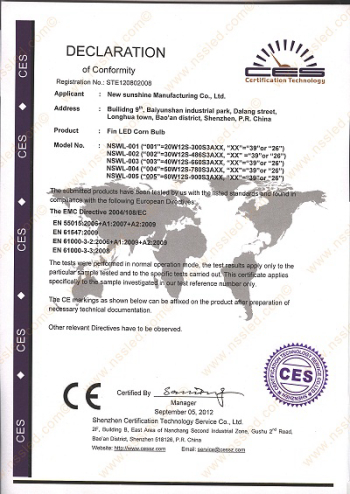 EUROPEAN CE CERTIFICATES